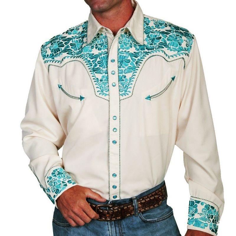 画像1: スカリー ウエスタン刺繍シャツ(長袖/クリーム・ターコイズ)/Scully Long Sleeve Embroidered Western Shirt(Men's)