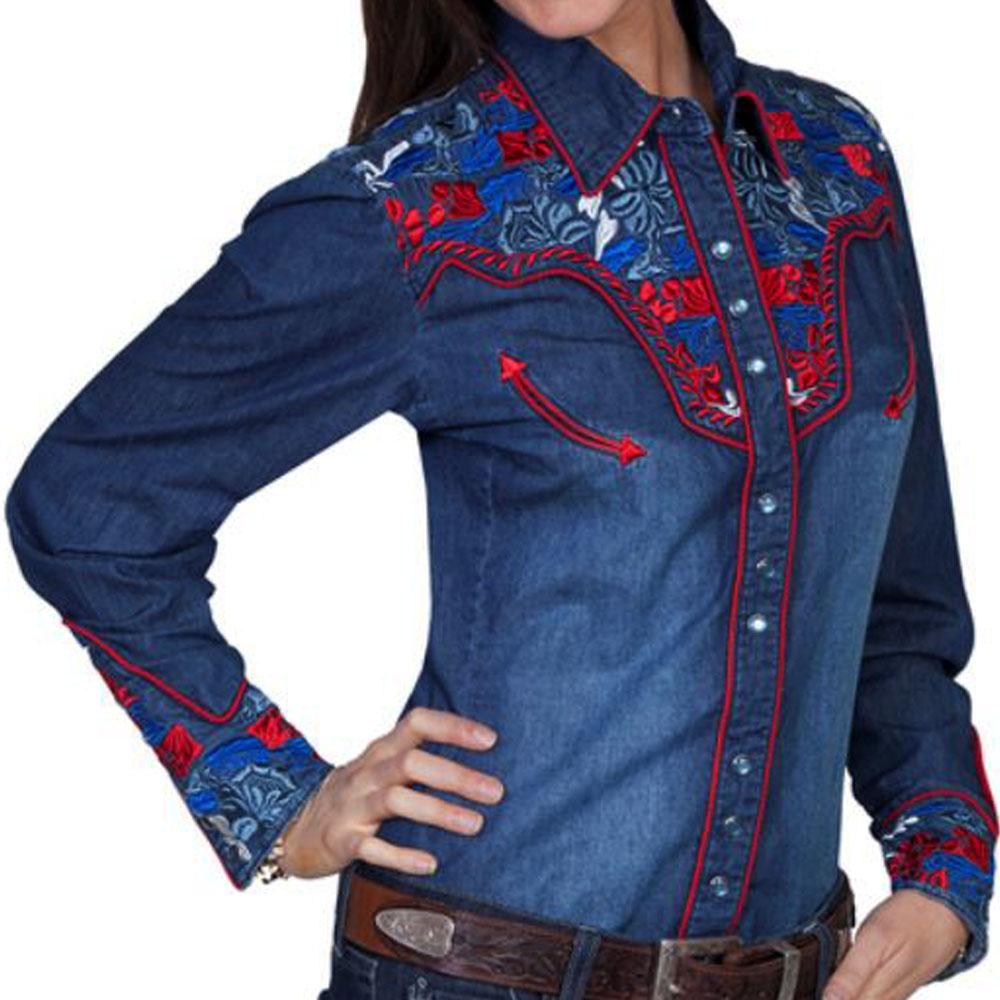 画像1: スカリー 刺繍 ウエスタン シャツ(長袖/デニム・フローラルマルチカラー)/Scully Long Sleeve Western Shirt(Women's)