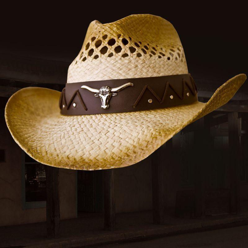 画像1: ロングホーン カウボーイ ストロー ハット(ナチュラル)/Western Straw Hat(Natural)
