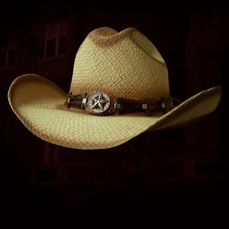 画像1: ハンドウーブン パナマ スターコンチョ レザーバンド ストローハット(ナチュラル)/Western Straw Hat (1)