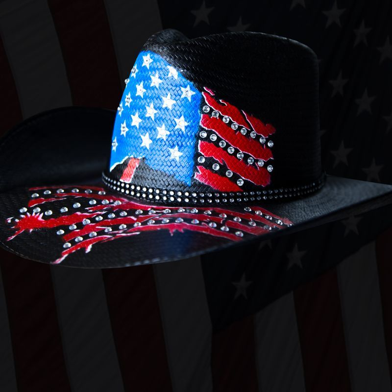 画像1: インデペンデンス デイ ストローハット(ブラック)/Western Straw Hat