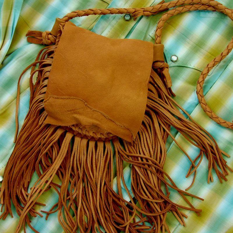 画像1: ディアスキン フリンジ ショルダーバッグ(サドル)/Deerskin Fringe Shoulder Bag(Saddle) (1)