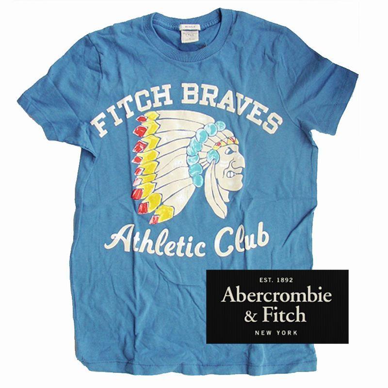 画像1: アバクロンビー&フィッチ 半袖 Tシャツ (ブルー・インディアン)/Abercrombie & Fitch T-shirt (1)