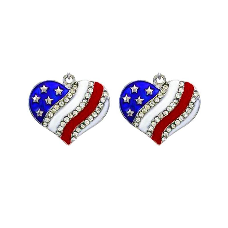 画像1: ハートアメリカ国旗 ラインストーン イアリング/Earring