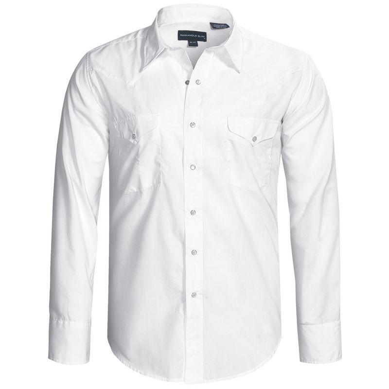 画像1: パンハンドルスリム ウエスタンシャツ(ホワイト・無地/長袖)/Panhandle Slim Long Sleeve Western Shirt