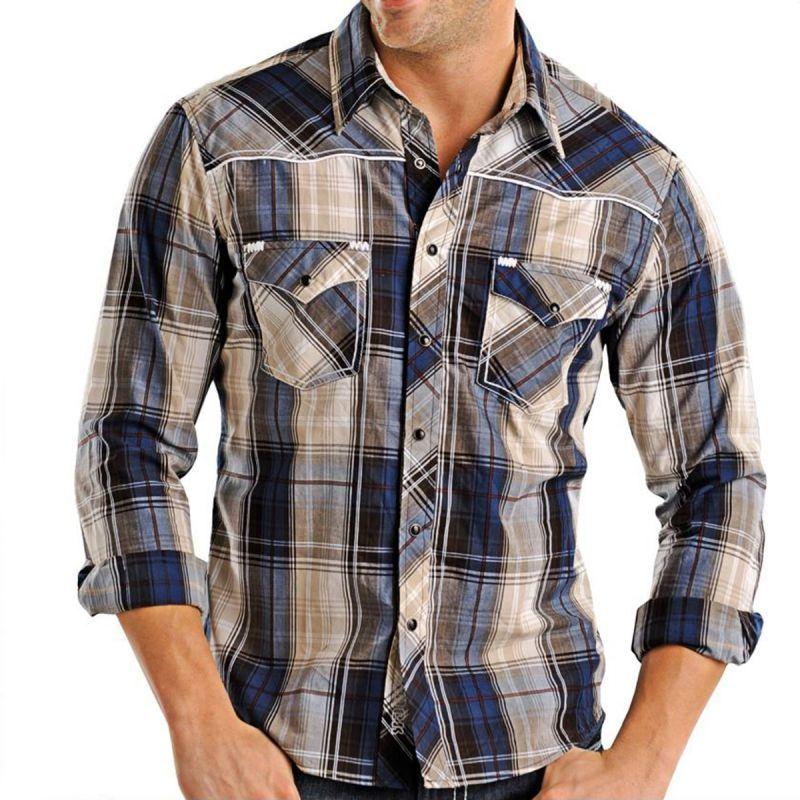 画像1: ロックンロールカウボーイ ウエスタンシャツ ブルー・ブラウン(長袖)/Panhandle Slim Long Sleeve Western Shirt (1)