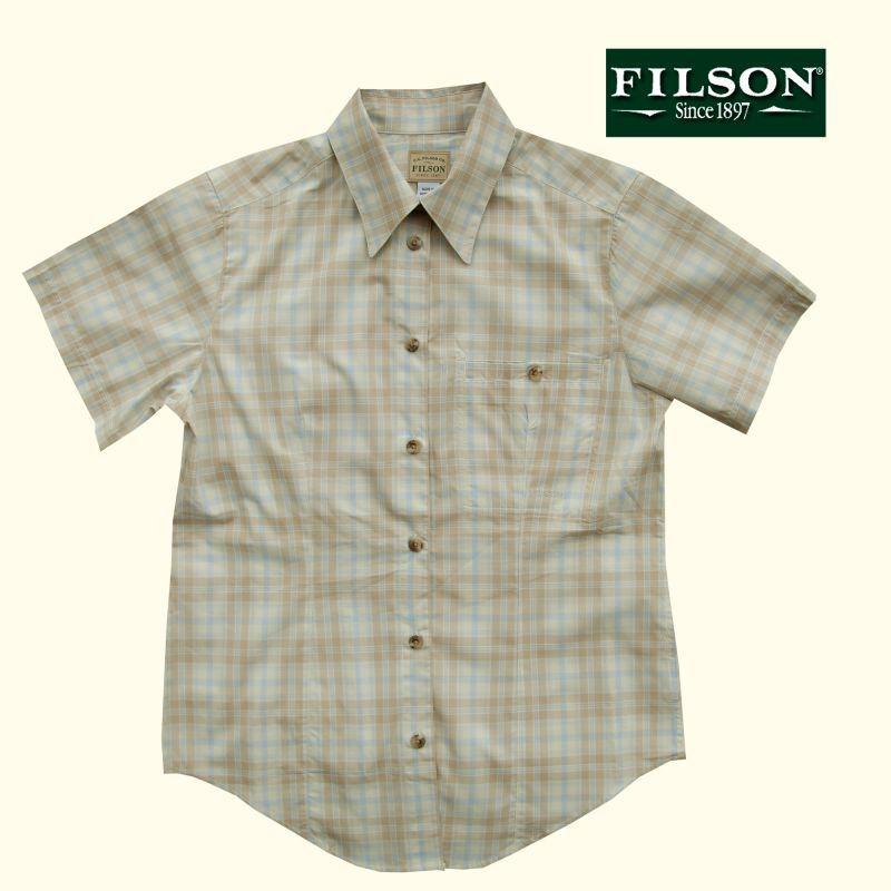 画像1: フィルソン Filson レディース 半袖シャツ(キャメルマルチ)