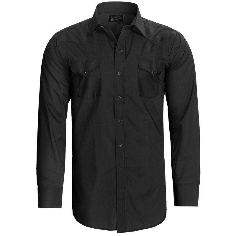 画像1: パンハンドルスリム ウエスタンシャツ(ブラック・無地/長袖)/Panhandle Slim Long Sleeve Western Shirt
