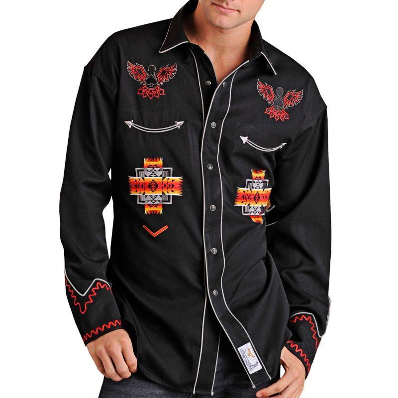 画像1: パンハンドルスリム ウエスタン 刺繍 シャツ(ブラック アズテック/長袖)/Panhandle Slim Long Sleeve Western Shirt