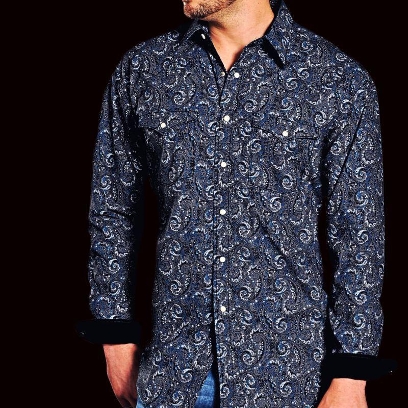 画像1: パンハンドルスリム ラフストック ペイズリー ウエスタンシャツ (ブラック・ブルー・グレー/長袖)L/Rough Stock Long Sleeve Western Shirt by Panhandle Slim