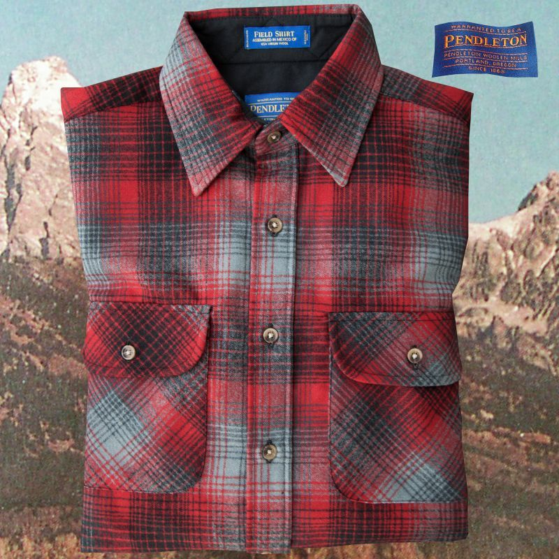 画像1: ペンドルトン バージンウールシャツ フィールドシャツ(レッド・ブラック)/Pendleton Field Shirt (1)