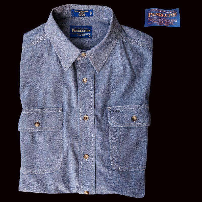 画像1: ペンドルトン シャンブレー シャツ ブルー(長袖)/Pendleton Long Sleeve Chambray Shirt