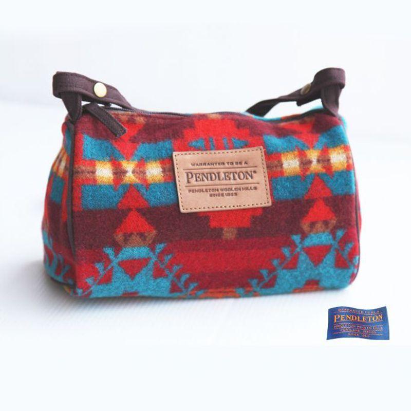 画像1: ペンドルトン ドップバッグ(バーガンディー・ターコイズ・レッド)/Pendleton Dopp Bag With Strap (1)