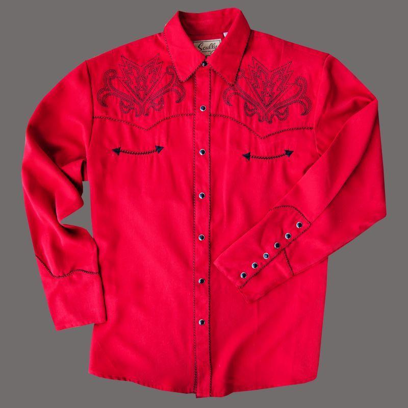 画像1: スカリー ウエスタン刺繍シャツ アローブーツステッチ(長袖/レッド)/Scully Long Sleeve Embroidered Western Shirt(Men's)