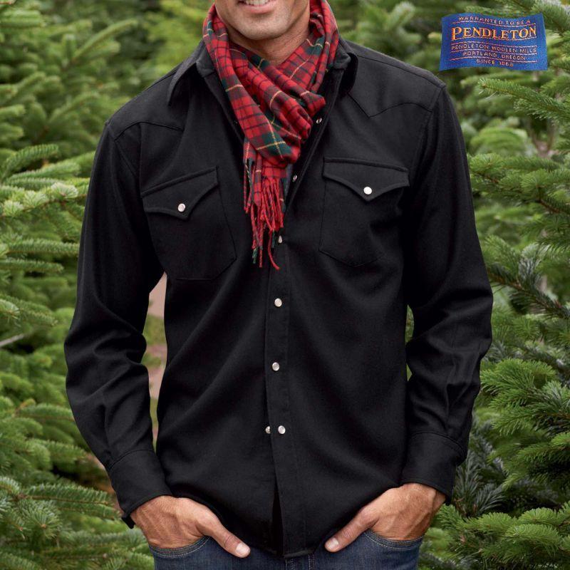 画像1: ペンドルトン ピュアー ヴァ-ジン ウール ウエスタンシャツ(ブラック無地)/Pendleton High Grade Western Shirt(Black) (1)
