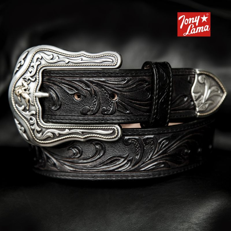 画像1: トニーラマ ベルト(ブロンコライダー ブラック)/Tony Lama Leather Belt