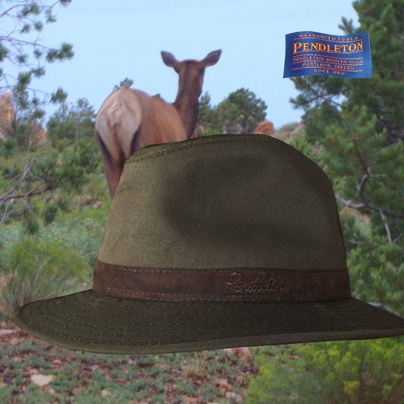 画像1: ペンドルトン ウールラインド オイルスキン ハット(ブラウン・ブラウンウオッチ)XL/Pendleton Wool Lined Oilskin Hat (1)