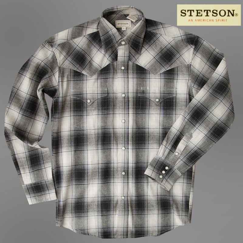 画像1: ステットソン フランネル ウエスタンシャツ(グレー・ブラック/長袖)/Stetson Flannel Long Sleeve Western Shirt (1)