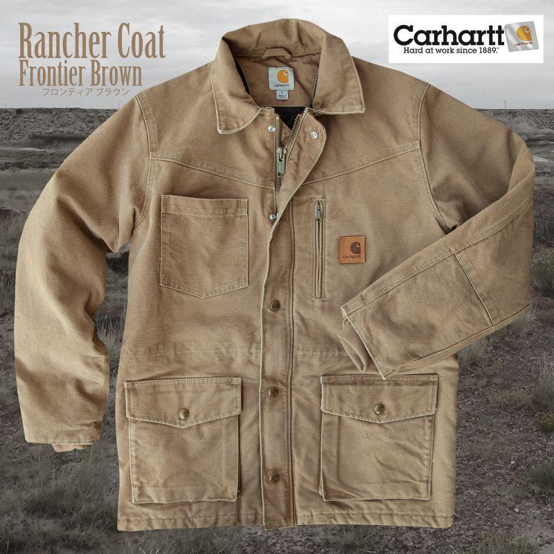 画像1: カーハート サンドストーン ランチャーコート フロンティアブラウンS/Carhartt Sandstone Rancher Coat (1)