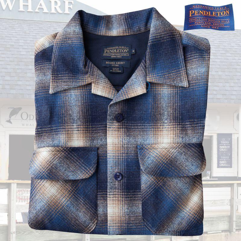 画像1: ペンドルトン ウールシャツ フィッテッド ボードシャツ タン・ブルーオンブレ/Pendleton Fitted Board Shirt (1)