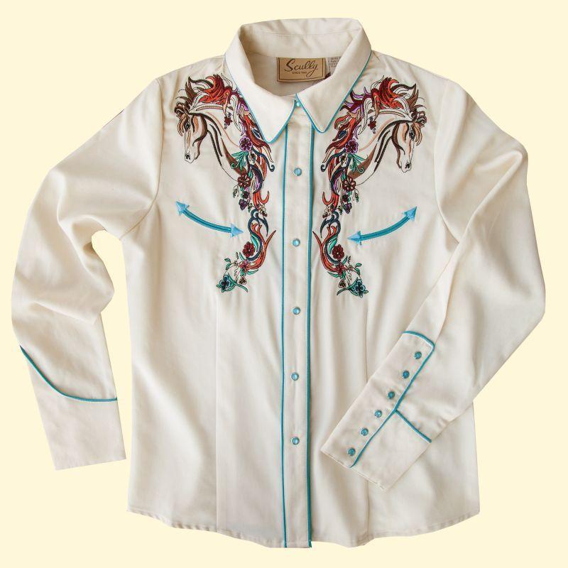 画像3: スカリー 刺繍 ウエスタン シャツ(長袖/クリーム・ホース)/Scully Long Sleeve Western Shirt(Women's)