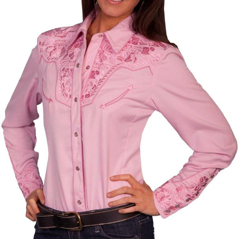 画像1: スカリー 刺繍 ウエスタン シャツ(長袖/ピンク)/Scully Long Sleeve Western Shirt(Women's) (1)