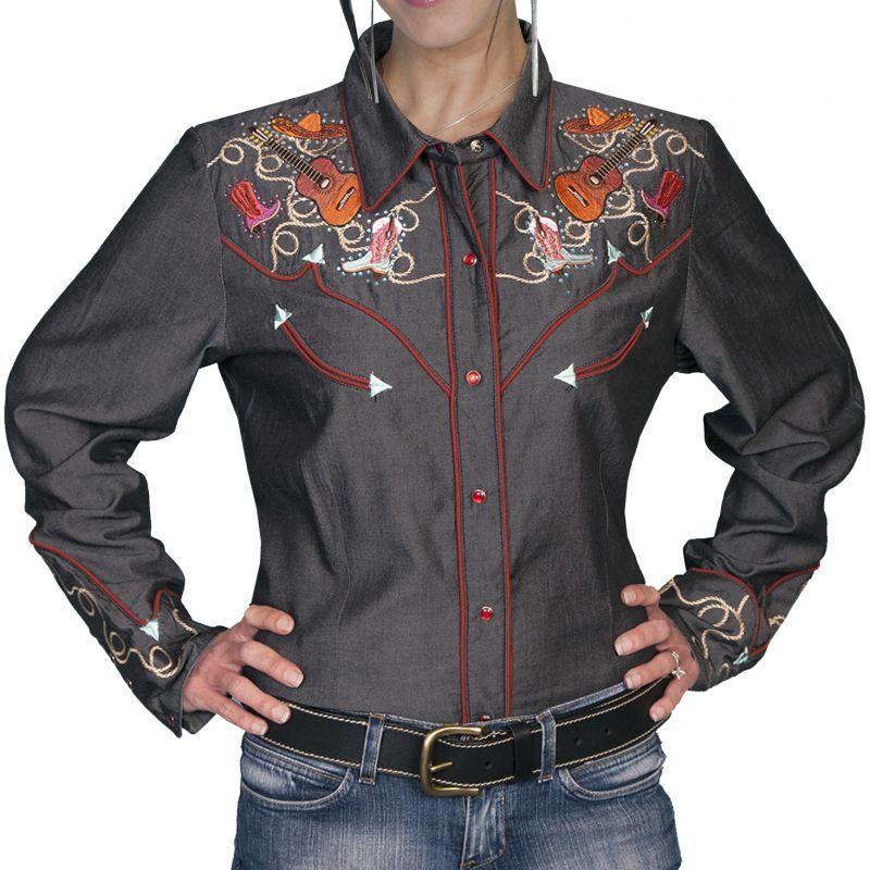 画像1: スカリー 刺繍 ラインスト-ン ウエスタン シャツ(長袖/チャコール)/Scully Long Sleeve Western Shirt(Women's)