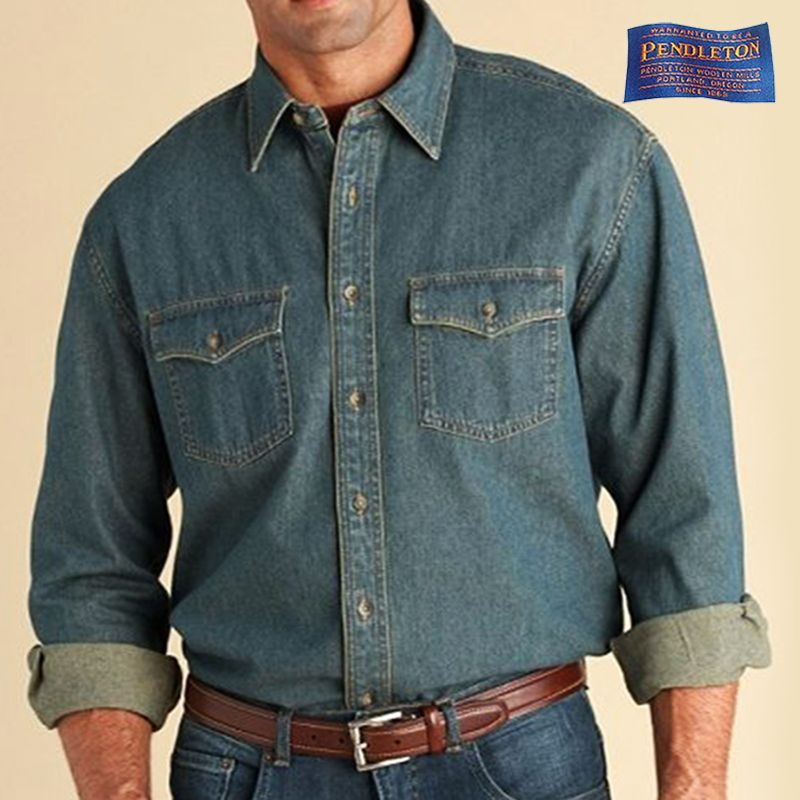 画像1: ペンドルトン アンティーク ウォッシュ デニム シャツXL/XXL/Pendleton Denim Shirt (1)