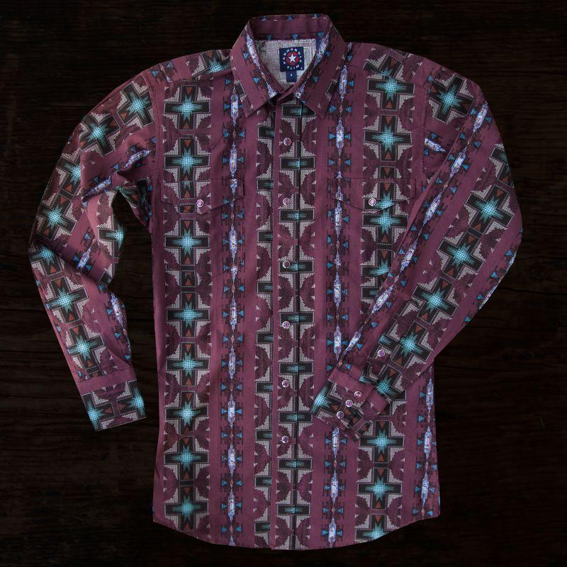 画像1: パンハンドルスリム ウエスタンシャツ・バーガンディー(長袖)/Panhandle Slim Long Sleeve Western Shirt(Burgundy) (1)