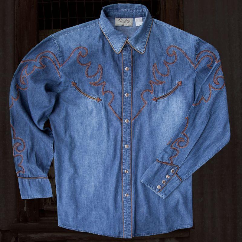 画像1: スカリー ウエスタン 刺繍 デニム シャツ(長袖)/Scully Long Sleeve Western Denim Shirt