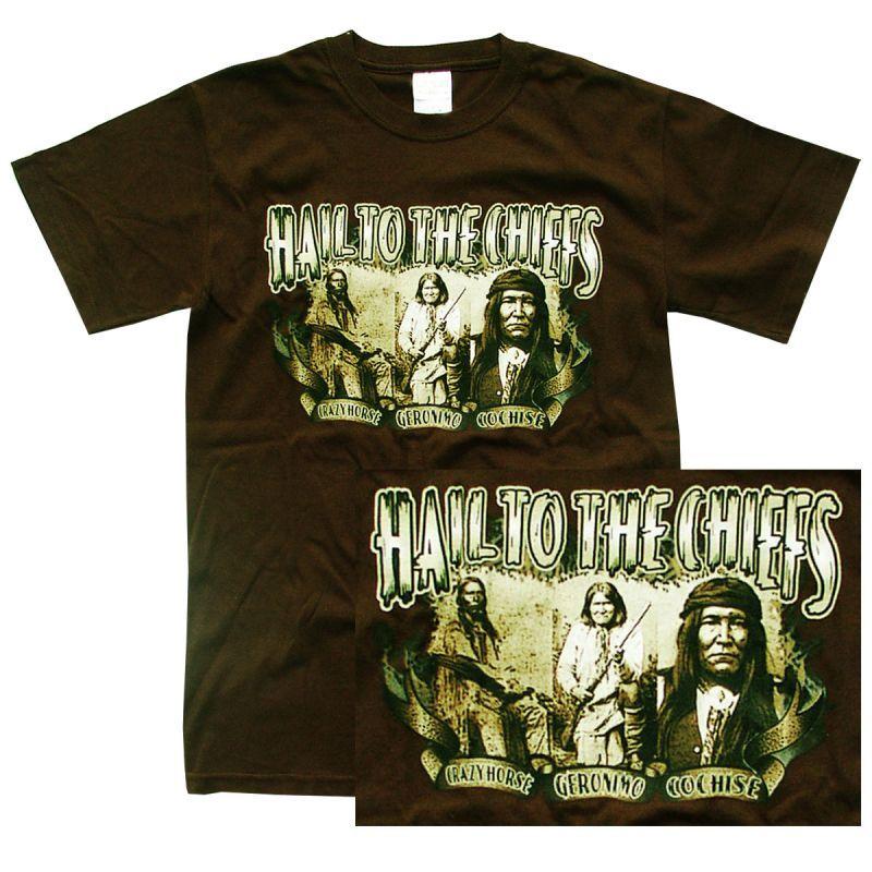 画像1: インディアン チーフ デザイン 半袖Tシャツ(ブラウン)/T-shirt(Native American Design) (1)
