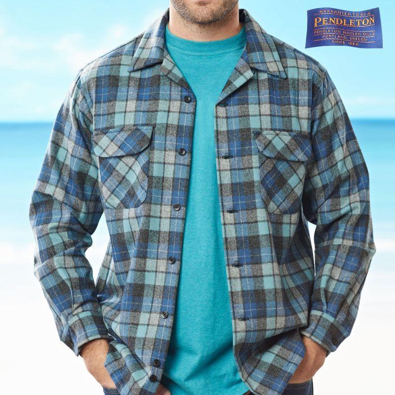 画像1: ペンドルトン ウールシャツ ビンテージフィット ボードシャツ(ライダーシャツ)1960s オリジナル ビーチボーイズプラッド(ブルー)XXS/Pendleton Vintage  Fit Board Shirt 1960s Original Beach Boys Plaid  (1)