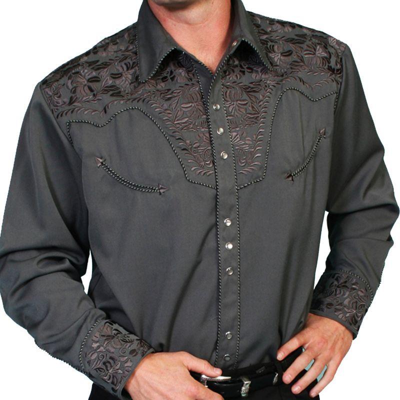 画像1: スカリー ウエスタン 刺繍 シャツ(長袖/チャコール)/Scully Long Sleeve Embroidered Western Shirt(Men's)