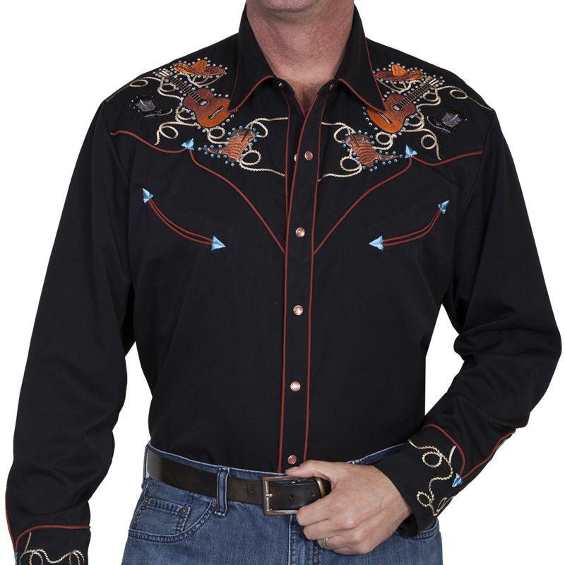 画像1: スカリー ウエスタン 刺繍 シャツ(長袖 ブラック ギター・ハット・ブーツ)/Scully Long Sleeve Embroidered Western Shirt(Men's)