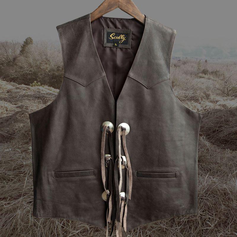 画像1: スカリー ウエスタン レザー&コンチョ ベスト(ブラウン)L/Scully Western Concho Vest(Brown) (1)