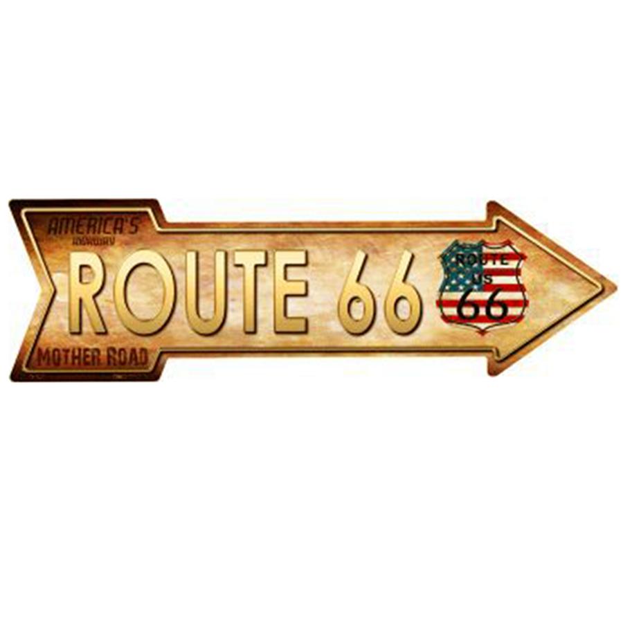 画像1: ルート66 星条旗 アロー メタルサイン/Route 66 Metal Sign (1)