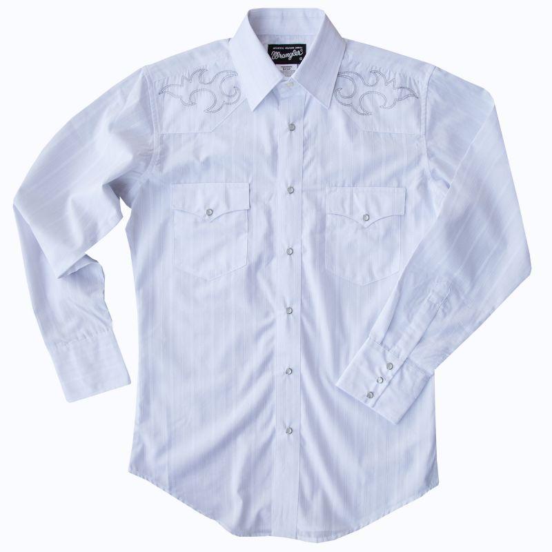 画像1: ラングラー 刺繍 ウエスタンシャツ ホワイト(長袖)/Wrangler Long Sleeve Western Shirt