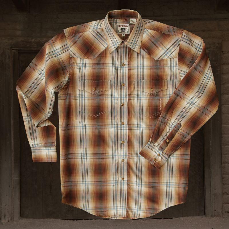 画像1: レジストル ウエスタン シャツ(ブラウン)/Resistol Western Shirt