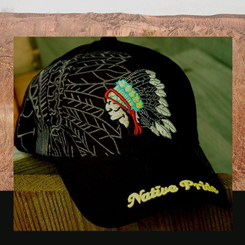 画像1: ネイティブプライド キャップ・インディアンデザイン・ブラック/Native Pride Cap Indian (1)