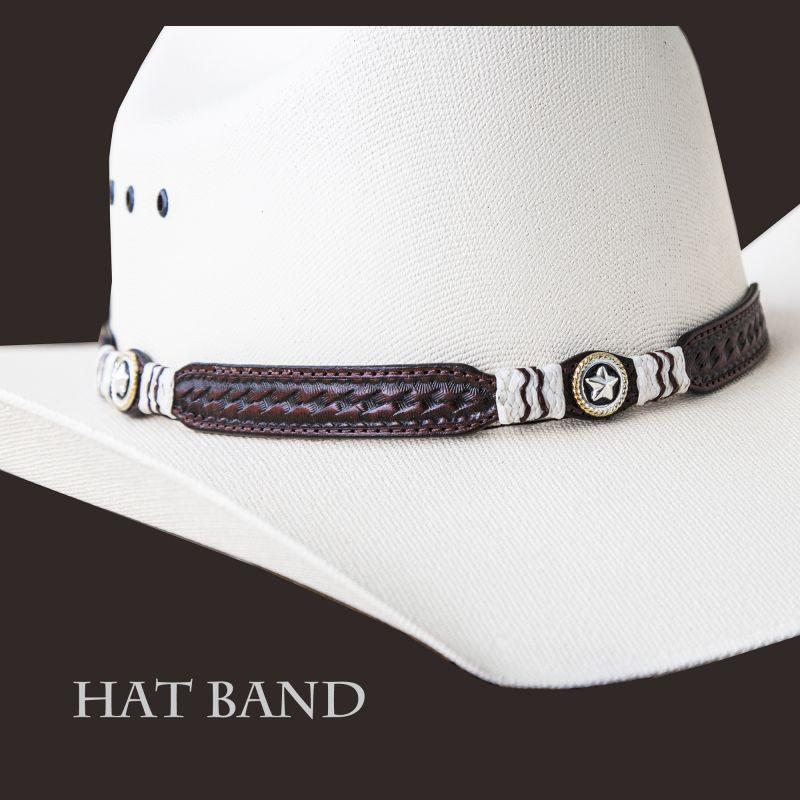 画像1: レザー ハット バンド スター(ブラウン)/Leather Hat Band(Brown)