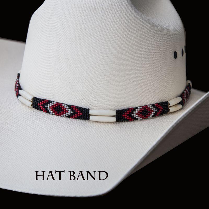 画像1: ハット バンド ホースヘアー・ビーズ・ボーン(アイボリー・ブラック)/Hat Band (1)