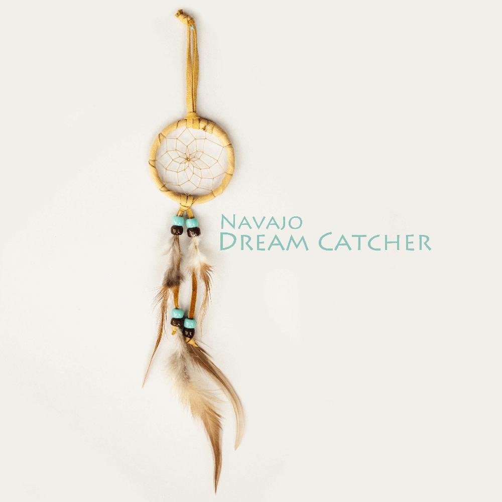 画像1: ドリームキャッチャー 6cm(タン/ターコイズ・ブラウン)/Dream Catcher (1)
