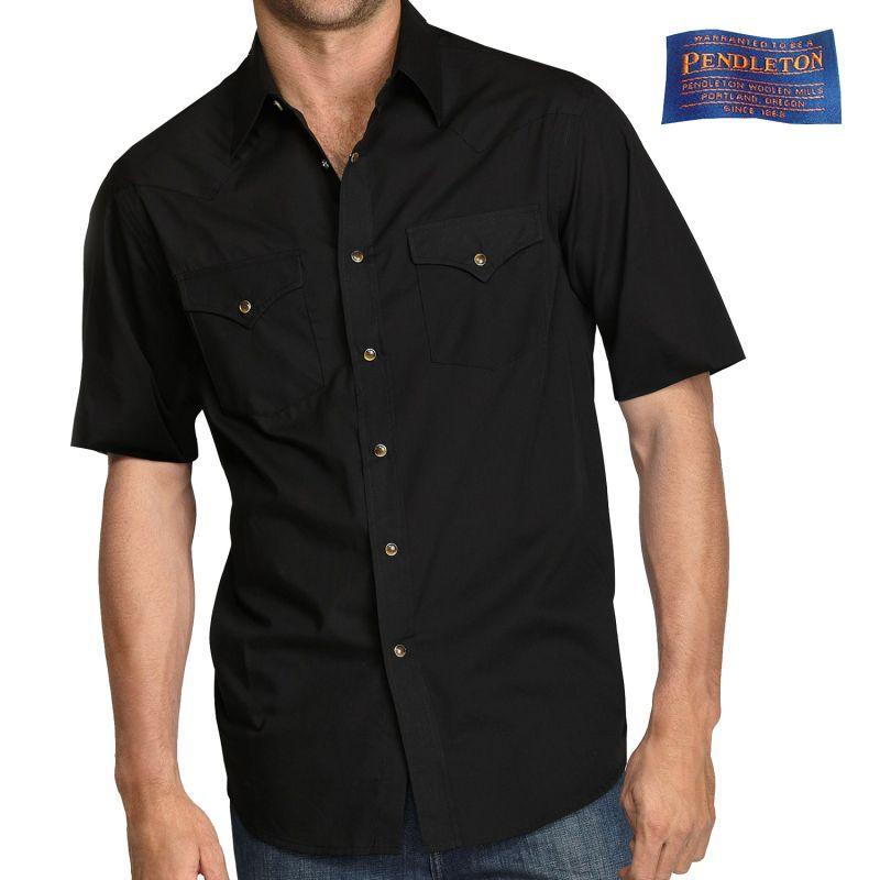 画像1: ペンドルトン 半袖 ウエスタン シャツ ブラック無地/Pendleton Shortsleeve Western Shirt