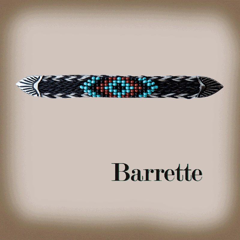 画像1: ホースヘアー&ビーズ バレッタ(ブラック・ターコイズ)/Barrette (1)