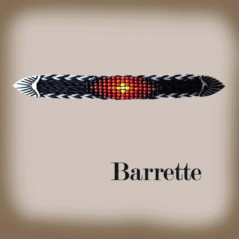 画像1: ホースヘアー&ビーズ バレッタ(ブラック・コーラル)/Barrette (1)