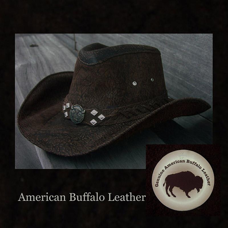 画像1: アメリカン バッファロー レザー バッファロー コンチョ カウボーイハット(ブラウン)/Genuine American Buffalo Leather Western Hat(Chocolate)