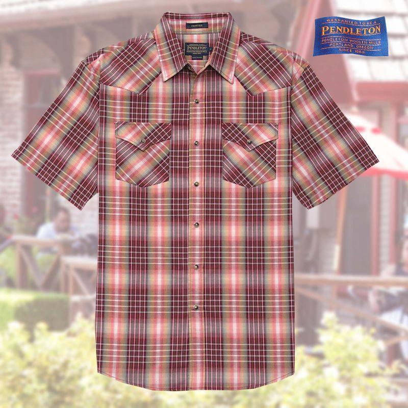 画像1: ペンドルトン 半袖 ウエスタン シャツ マルーン・グリーンS/Pendleton Shortsleeve Western Shirt