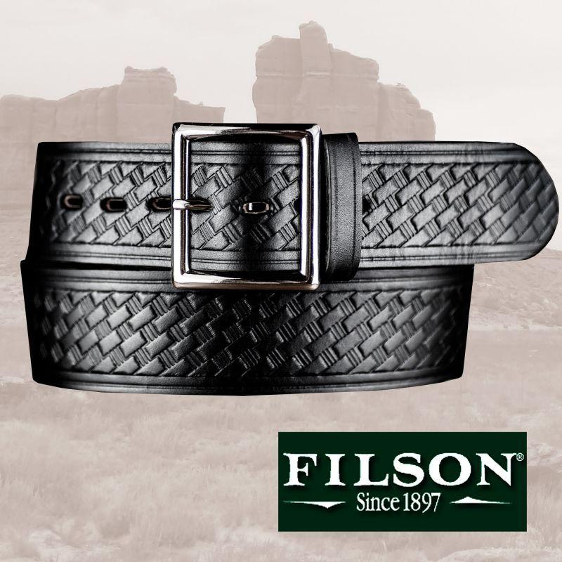 画像1: フィルソン ブライドルレザー ベルト ブラック/Filson Bridle Leather Belt(Black) (1)
