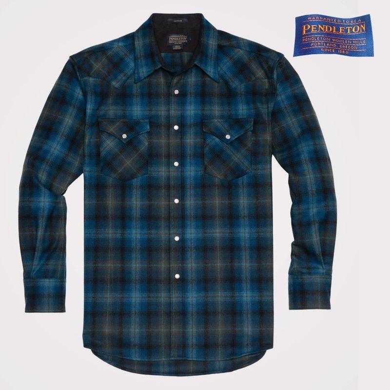画像1: ペンドルトン ウエスタンシャツ(ターコイズ・グリーンプラッド)/Pendleton Western Shirt (1)