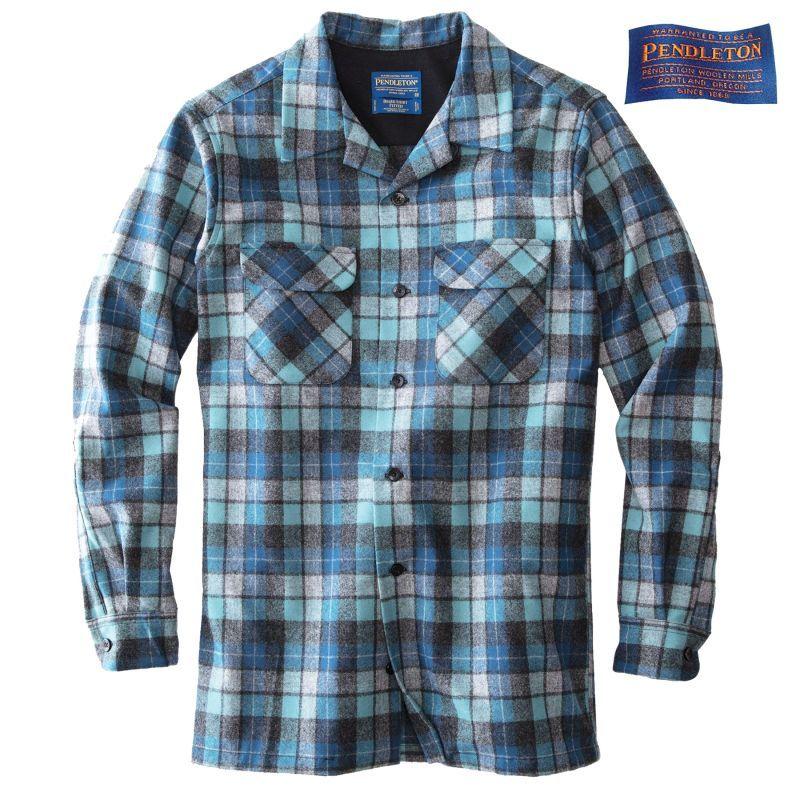 画像1: ペンドルトン ウールシャツ ボードシャツ ブルーオリジナルサーフプラッド/Pendleton Board Shirt(Blue Original Surf Plaid)